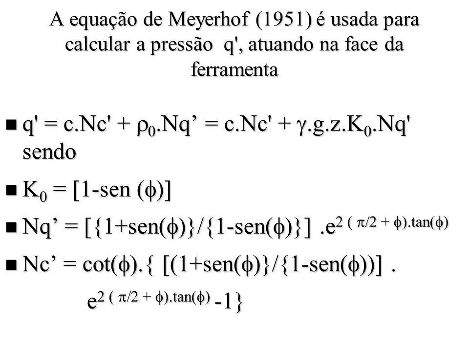 q = c.Nc + 0.Nq' = c.Nc + g.z.K0.Nq sendo K0 = [1-sen ()]